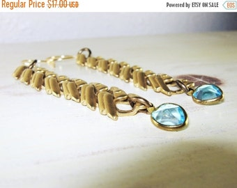 ON SALE Chevron Earrings, Heart Earrings, Aqua Blue, Blue Hearts, Chain Earrings, Dangle Earrings, Brass Earrings, Long Earrings