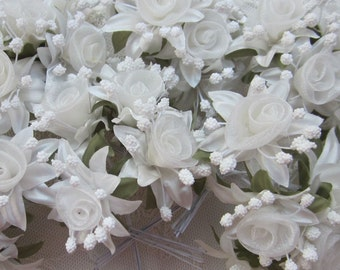 18 pc Rosette Rose Wired Flowers IVORY Organza Satin Ribbon w Pips Bridal Bouquet Hair Bow Accessory