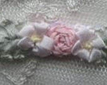 2pc Vintage Chic Antique PINK Silk Ribbon Embroidered Daisy Spider Rose Flower Applique Christening Gown Baby Doll Hair Bow