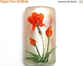 ON SALE 50% OFF Glass Lampwork Bead  - Vermilion Flower Kalera Focal Bead  - 11832203