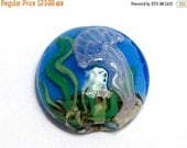 ON SALE 40% OFF New! 11838702 Sea Jellies Lentil Focal Bead - Handmade Glass Lampwork Bead