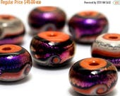 ON SALE 50% OFF Handmade Glass Lampwork Bead Set - Seven Magic Moment Waves Rondelle Beads 10706401