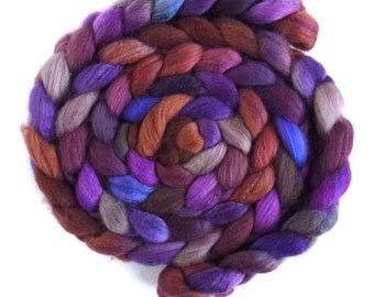Organic Polwarth/Cultivated Silk Roving - Handpainted Spinning or Felting Fiber, Chocolate at Night