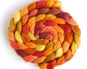 Polwarth/Silk 60/40 Roving - Handpainted Spinning or Felting Fiber, Calendula Flowers