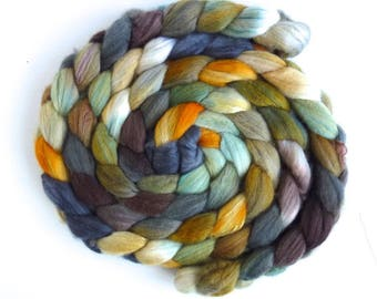 Organic Polwarth/Cultivated Silk Roving - Handpainted Spinning or Felting Fiber, World of My Own
