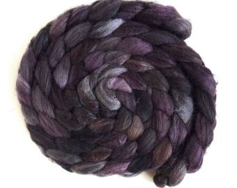 Merino/ Superwash Merino/ Silk Roving (Top) - Handpainted Spinning or Felting Fiber, Stacked Cedar
