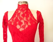 1980s Lace Dress / Lace Bandage Dress / 80s Bodycon Dress / Valentine Red LACE Dress XS / David Howard Climax Dress