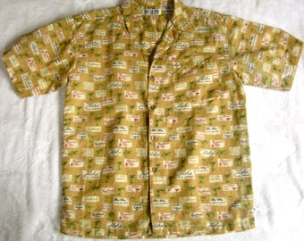 Menswear HAWAIIAN PRIDE Vintage 80s Linen Blend Novelty Print Bugle Boy Shirt L