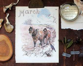 Charming Vintage Watercolor Art, Horses, Farm, Farmer, Crops, Pastoral Print, Edwardian Nature Drawing, March Month Winter Spring Birthday