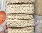 Country Rustic Fine Cream Light Beige Floral Flower Crochet Scallop Cotton Lace Wedding Decoration Ribbon Trim Set 5 Designs 10 Yards