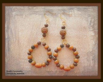 Wood Hoop Earrings Orange Brown