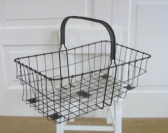 Vintage Metal Basket, Vintage Wire Basket, Vintage Market Basket, Industrial Basket, Metal Handled Basket, Metal Easter Basket, Industrial
