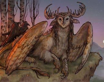 TYTOGRYPH ※ Barn Owl Antlers Ears Gryphon Ravens Fire Feathers Celtic Goddess God Spiral Shaman Sunset Art