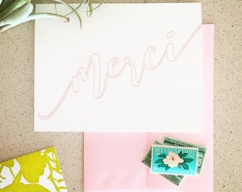 Blush Merci French Thank You Letterpress Card