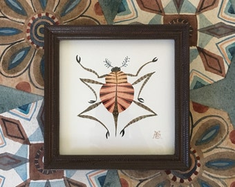 Red Beetle Hopper, original watercolor painting, framed