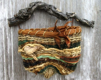 Contemporary Wall Basket with Natural Embellishments and Driftwood Handle OOAK by Marcia Whitt