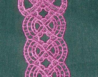Beautiful Lavender Ribbon Window Bookmark, Lace, Machine Embroidery
