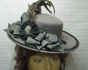 Victorian Hat, Downton Abbey Hat, Riding Hat, Civil War Hat, 1800s Style Hat, Reenactment hat, GRey and BLacK SASS