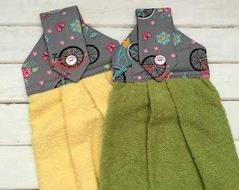 Hanging Hand Towel Set- Hanging Dish Towels- Gray Floral Bicycles