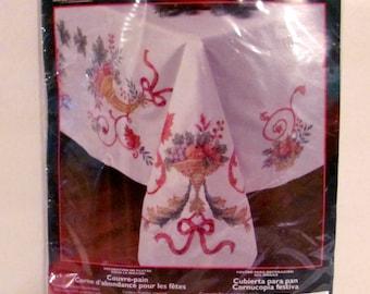 Plaid Bucilla Tablecloth-Holiday Cornucopia