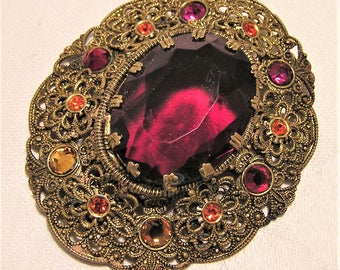 Vintage Red Cut Glass and Red Orange and Yellow Rhinestone Brooch in Filigree Setting. Looks Like West Germany or Czech. Over 2 Inches. D11