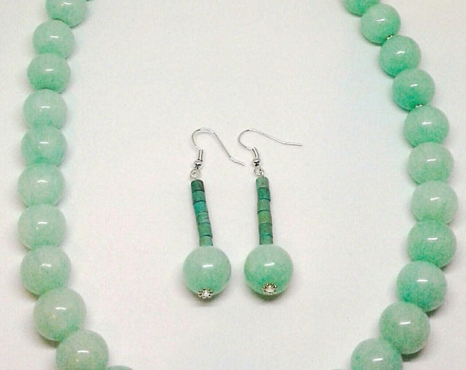 Item # 201739, Jade it, Jade Necklace and Earring Set, 20 Inched Long, Handmade, Handcrafted, Gemstone Jewelry
