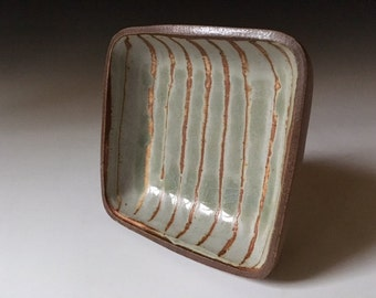 Handmade, wood fired, square dish by Julie Crosby