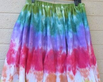 womens plus size skirt Tie Dye Hippie skirt shirt rainbow skirt