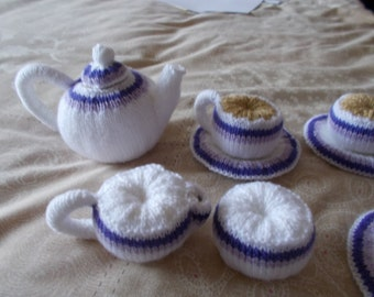 Knitted play tea set, knitted play food,  toy tea set, play food,knitted cups, knitted tea pot knitted plates