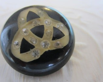 Vintage Button - 1 beautiful celluloid, with rhinestones, 1940's, dark brown (lot jan 191-17)