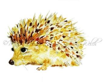 Hedgehog Art, Hedgehog Print, Watercolor Print, Watercolor Painting, Hedgehog Painting, Art Print, Animal Art, Nursery Art, Majik Horse