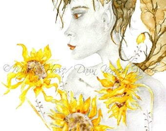 Sunflower Fairy Art, Sunflower Fairy Print, Watercolor Print, Watercolor Painting, Sunflower Fairy Painting, Art Print, Fairy, Majik Horse