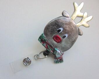 Retractable Reel Badge ID Holder Whimsical Christmas Rudolph reindeer