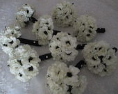 SUMMER SPECIAL...Bridal White  Anemone with Inky Black Centers .....14 Piece Silk bridal Bouquet Set  Bridesmaids Wedding Bouquet