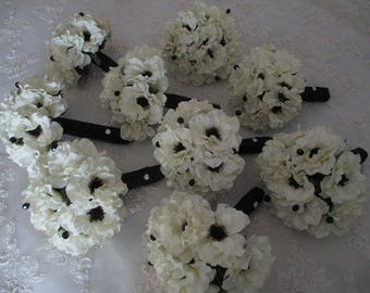 Bridal White  Anemone with Inky Black Centers .....14 Piece Silk bridal Bouquet Set  Bridesmaids Wedding Bouquet