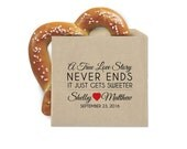 Wedding Favor Cookie Bags - Pretzel Favor Bags - A True Love Story - Double Opening Grease Resistant Kraft Favor Bags