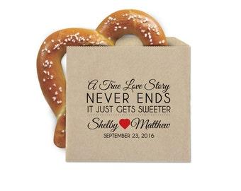 Wedding Favor Cookie Bags - Pretzel Favor Bags - A True Love Story - Double Opening Grease Resistant Kraft Favor Bags