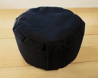 Traditional Zendo Black Meditation Cushion, Zafu with Buckwheat Hulls