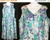 ON SALE Laura Ashley Teal Lavender White Floral Print Jumper Dress US 14 Uk 18