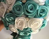 Custom Order for Aymille Satin rose bouquets and boutonnieres. Topic Blue/white
