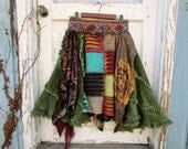 Reconstructed Bohemian Gypsy Skirt// Small Size 6// Multicolored// Cowgirl Knee Skirt// Festival Wear// emmevielle
