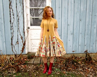 L-XL Upcycled Vintage Camel Multi Colored Velvety Swing Dress// Altered Clothing// Reconstructed Dress// emmevielle