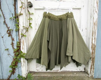 Avocado Olive Green Woodland Bohemian Tattered Skirt// Reconstructed// Altered Clothing// Cowgirl// Large XL 1X//emmevielle