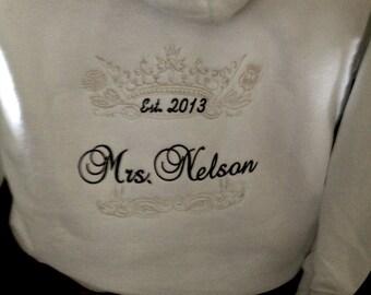 Personalized Bride Bridal Crown Queen  Zip Up front Hoody Mrs. Sweatshirt  Hoodie Honeymoon Bridal shower Bride to be