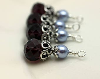 Vintge Style Purple Rondelle Crystal with Lavender Pearl with Ornate Silver Bead Dangle Charm Drop Set - Earring Dangle, Charm, Pendant