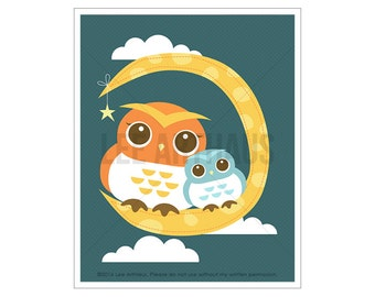 5A Owl Print - Owls and Moon Wall Art - Woodland Nursery Art - Owl Poster - Owl Home Decor - Owl Illustration - Woodland Drawing - Owl Decor