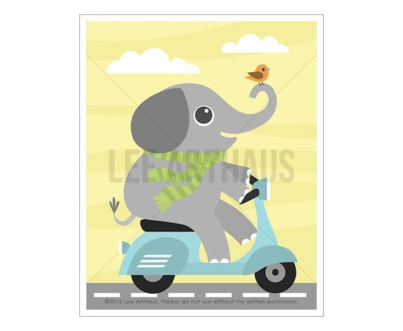 13A Elephant Nursery Print - Elephant on Vespa Wall Art - Elephant Print - Elephant Art - Vespa Print - Baby Elephant Nursery Wall Art