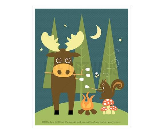 55A Moose Print - Camping Squirrel and Moose Wall Art - Moose Drawing - Moose Decor - Cabin Decor - Boy Nursery Wall Art - Camping Decor