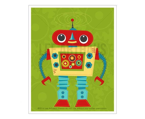 Robot Print - Robot 6 Wall Art - Space Nursery Art - Robot Nursery Wall Art - Robot Wall Art - Cute Robot Print - Funny Robot Wall Art