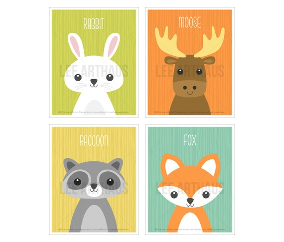7S Woodland Animals Nursery Print Set - Set of 4 Prints - Woodland Nursery Wall Art - Moose and Rabbit Wall Art - Fox Wall Art - Raccoon Art